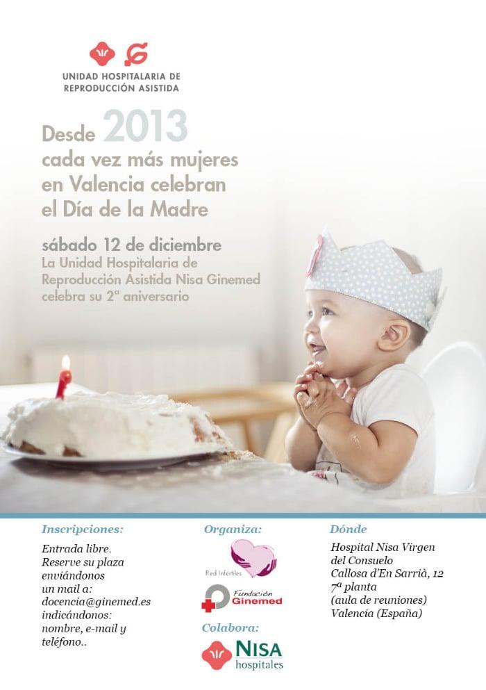 Cartel segundo aniversario de la unidad hospitalaria de reproducción asistida Nisa Ginemed