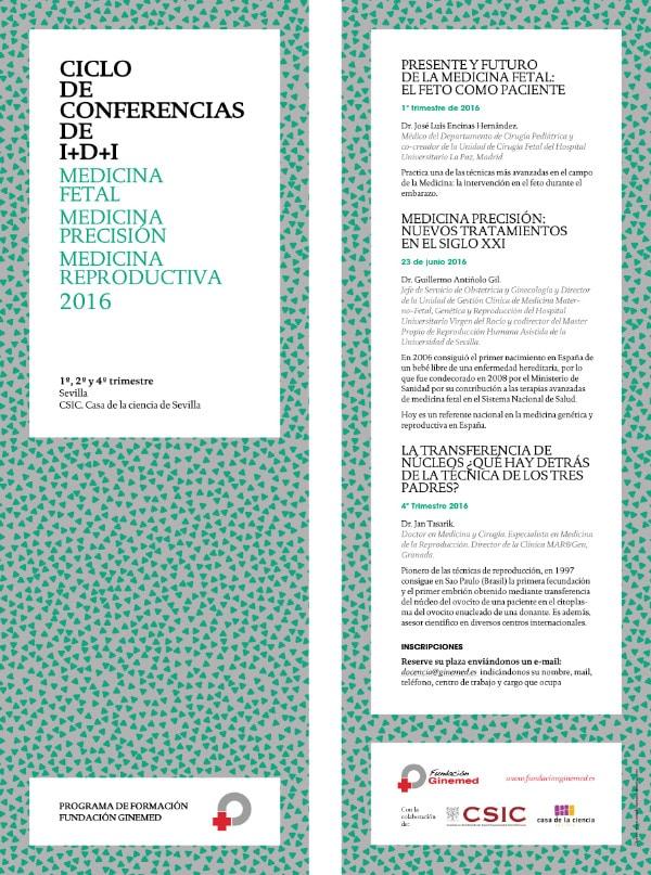 Cartel ciclo de conferencias I+D+O Medicina Fetal medicina precisión y medicina reproductiva