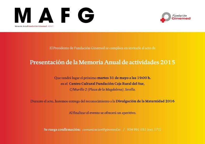 Cartel presentación de la memoria anual de actividades 2015
