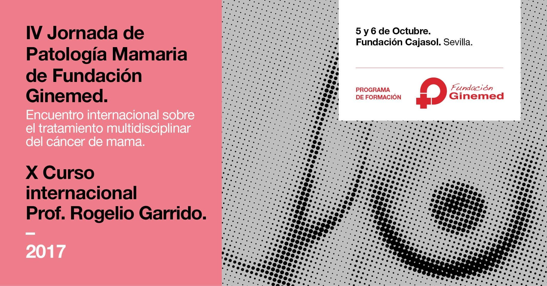 Cartel IV Jornada de patología mamaria de fundación ginemed. Encuentro internacional sobre el tratamiento multidisciplinar del cáncer de mama