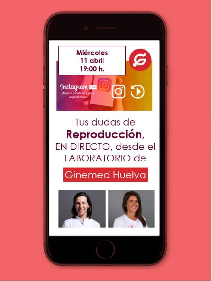 Imagen en móvil cartel sesión instagram. Tus dudas de reproducción en directo desde ginemed huelva