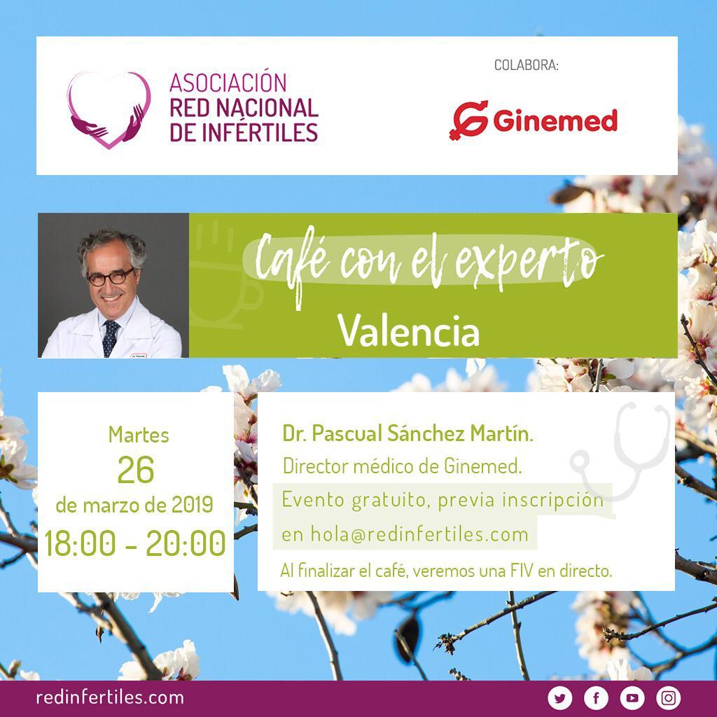 Cartel café con el experto Ginemed Valencia y asociación red nacional de infértiles