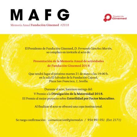 Cartel presentación memoria anual fundación ginemed 2018